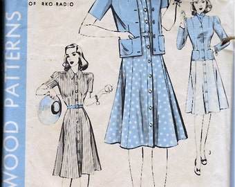 Bust 30-1940's Hollywood Pattern 420 One-Piece Dress and Jacket Size 12 Hip 33