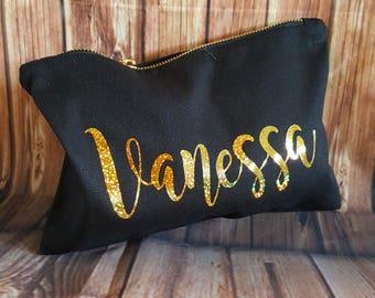 Personalized Cosmetic Bag, Bridesmaid Gift, Make Up Bag, Cosmetic Bag, Custom Cosmetic make up, Bridesmaid Bag,Gold Personalized Bag,