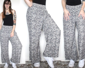 90s Express Wide Leg High Waisted Pants Patterned Comfy Pants Elastic Waistband Pants Hipster Pants Hippie Pants Boho Pants Size S