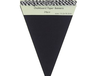 Chalkboard Paper Banner, Triangle, 8-Inch x 5-1/4-Inch, 24-Piece
