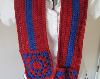 Red and Blue, Sports Team Long Scarf with Pockets, Single Stripe , Football, Basketball, Soccer, Baseball