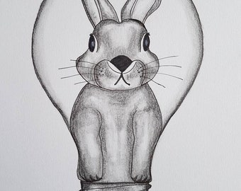 Rabbit light - on A4 artist paper