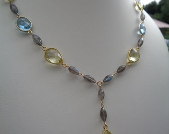 Gemstone necklace with Labradorite and lemon Topaz quartz
