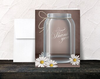 Daisy Mason Jar Thank You Cards - Vintage Country Rustic Mason Jar Brown - Printed Thank You Cards