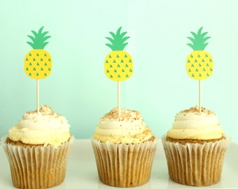 Pineapple Cupcake Toppers - Hawaii Cupcake Toppers - Tropical Cupcake Toppers - Twotti Frutti Decor - Tutti Frutti Decor - Pineapple Party