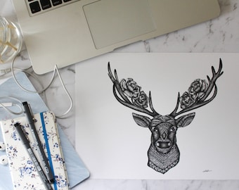 Deer Head Print A4 and A3 - Wall Art - Home Decor