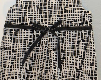 Girl 18 mths – 2T, bodice pleated dress, black/white corduroy