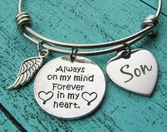 remembrance gift bracelet, loss of loved one son memorial gift, in loving memory of son sympathy gift, always on my mind forever in my heart