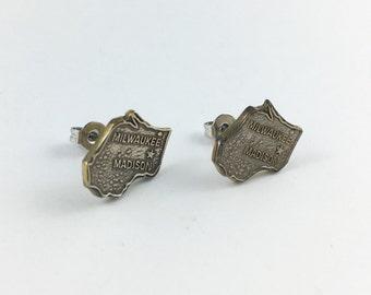 Wisconsin Earrings, Wisconsin Map, Wisconsin Jewelry, Milwaukee, Madison, Wisconsin Gift, Wisconsin Stud Earrings, Wisconsin Charm