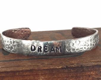 Silver Word Bracelet, Silver and Copper Soldered DREAM Bracelet, Inspirational Jewelry, Forged Copper Cuff Bracelet, Kyleemae Designs