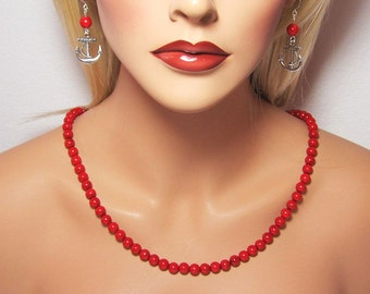 """Classic Red Genuine Riverstone Beaded Nautical Necklace with 2"""" Extender"""