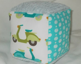 Organic Blue and Green Vespas Fabric Block Rattle
