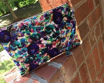 Blue green purple floral clutch bag purse wristlet