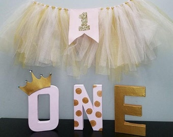 Pink & gold, princess, first birthday, tulle banner,ONE letters, smash cake, photo prop