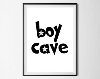 Boy Cave Wall Print - Home Decor, Home Print, Boys Print, Childrens Print, Boy Bedroom Print