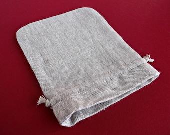 Reusable sachet bags Drawstring packaging pouches Set of 10 Beige linen bags Small favor bags Bulk Custom packaging