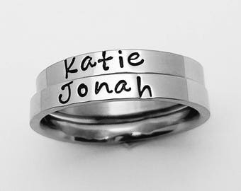 2 pc. set,Name ring, stacking rings,personalized rings, personalized Mother's ring,engraved rings,custom rings,stacking name rings,Mom ring