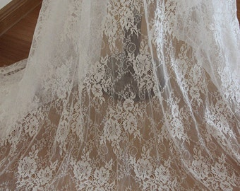 3 yards off white Chantilly lace fabric, bridal chantilly lace, French lace fabric with scalloped borders, ivory lace fabric with eyelash