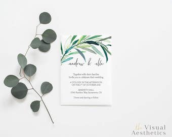 Eucalyptus Wedding Invitation Printable | Invitation Design | Rustic Minimal Wedding Invitation | Calligraphy Modern Invitation | Botanical