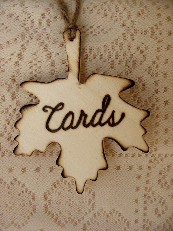 Rustic Wooden fall leaf Cards wedding sign in natural wood - Ready to ship