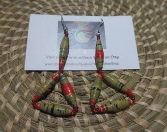 African Earrings, Paper Bead Earrings, African Beaded Earrings, Green Earrings, Unique Earrings, Lightweight Earrings, Fair Trade Earrings