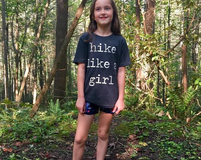 Hike Like A Girl Kid Shirt - Shirt for Girls - Hiking Shirt for Girls - Unisex Kids Clothing - Feminist Kids Shirts - Mountain Kid- Triblend