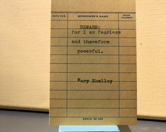 Mary Shelley Typewriter Quote on Vintage Due Date Card