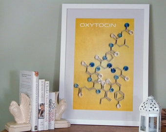 Oxytocin Molecule Poster, Scientific Stylized Happiness, paper quilling,  Paper art print, 12x18in, Ready to ship