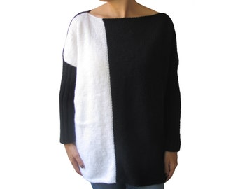 NEW - Black - White Sweater Plus Size Over Size