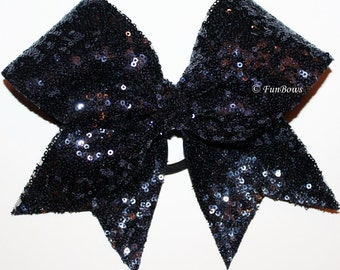 The most gorgeous Navy Blue Sequin Cheerleading Hairbow Ever !