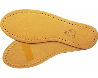 Real leather insoles, for sensitive alloys, all natural leather, slipper/shoes insoles. FREE domestic shipping.