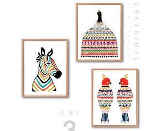 Peacock Art Print, Zebra Art Print, Parrots art Print, Modern Wall art, Modern Home decor, Kids room decor, Nursery wall decor