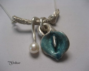 One of a kind handmade classic fine silver enamelled lily pendant