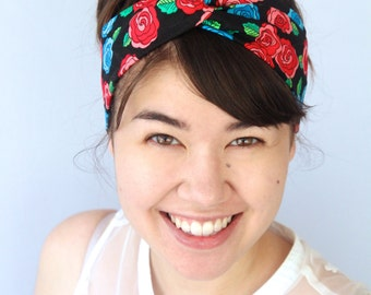 Rose Headband, Red and Blue Turban Headband, Twist Headwrap