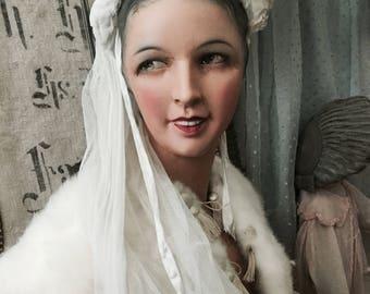 Victorian bridal veil, Bridal Veil antique Victorian, circa 1910