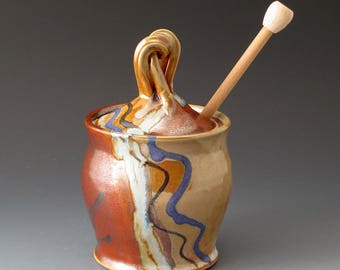 Honey Pot with Desert Colors, Handmade Ceramic Covered Jar, Sugar Bowls, Lidded Jar