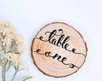 Woodsy Wedding Decor | Wood Table Numbers | Woodland Weddings | Wood Numbers | Wedding Decoration | Cursive Handwritten Wood Numbers | ©