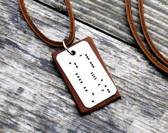 Personalized Morse Code Necklace, Morse Code Jewelry, Name Necklace, Leather Necklace, Secret Message Necklace, Custom Necklace, Mens Gifts