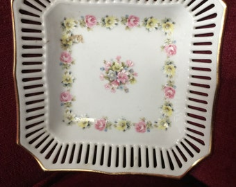 Country Shabby Chic Cottage Square jewelry dish