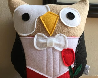 The Phantom of the Owl-pra Owl Plushie- Inspired by The Opera- Small Owl Plushie