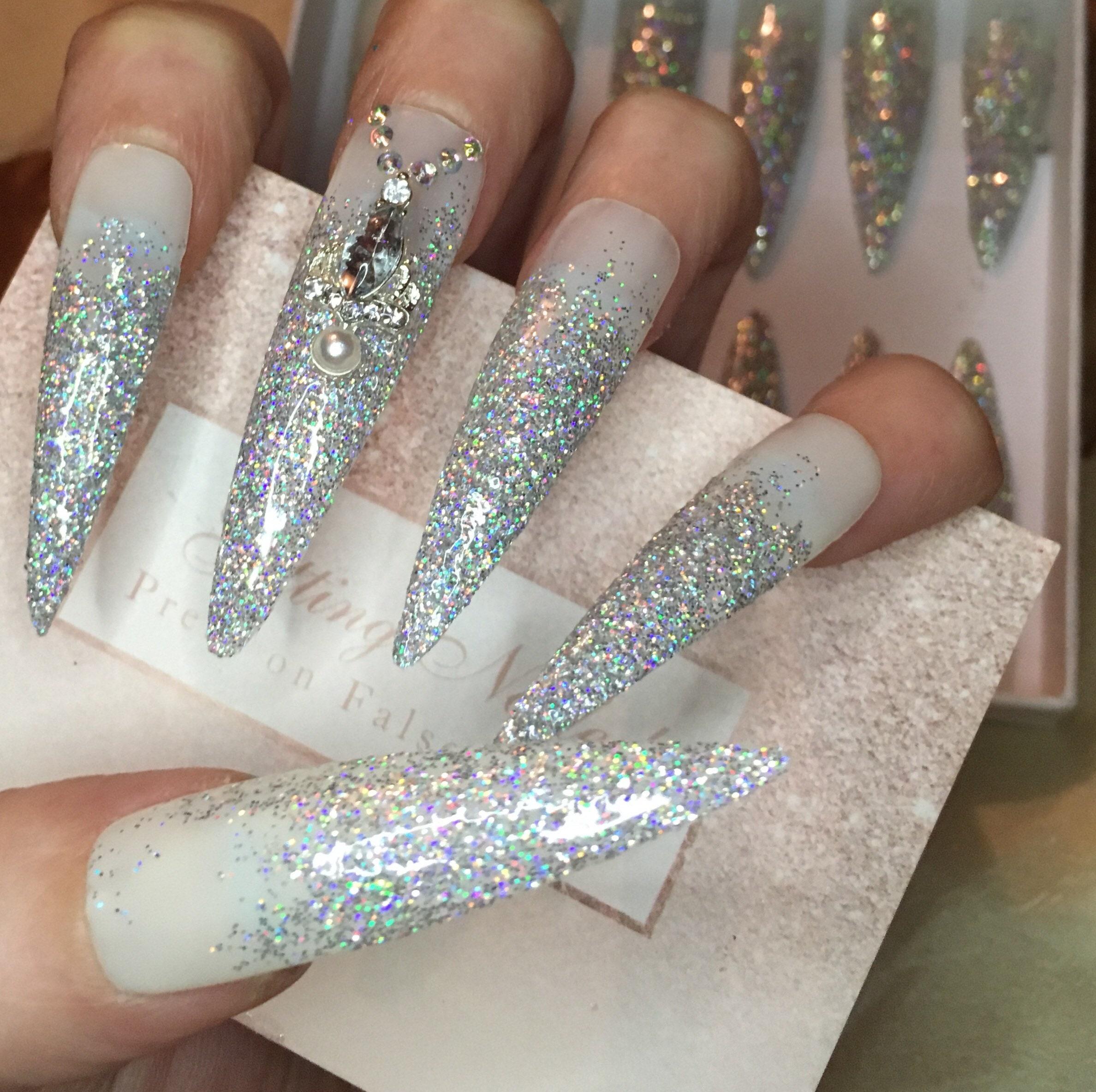 Set of 24, diamond glitter nails, holographic false nails, drag ...