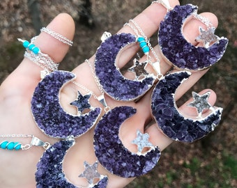 """MOON & STAR Amethyst cluster necklace // silver with Turquoise // 30"""""""