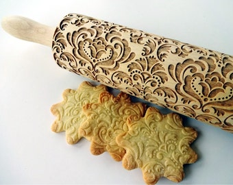 DAMASK pattern Embossing Rolling pin. Laser cut rolling pin for embossed cookies with oriental flowers