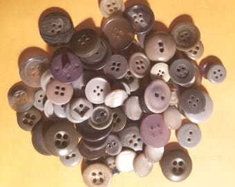 Grab bag mix of miscellaneous grey sewing buttons