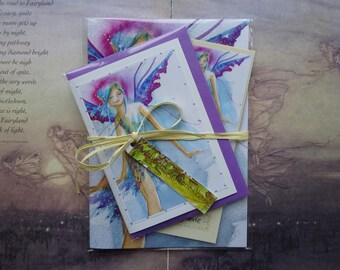 Notebook, Handmade Bookmark, Handmade Card, Gift Set, Fairy Gift Set, Faerie Art, Stationary Set, Fairy Gifts, Bookmark, Blue Faerie