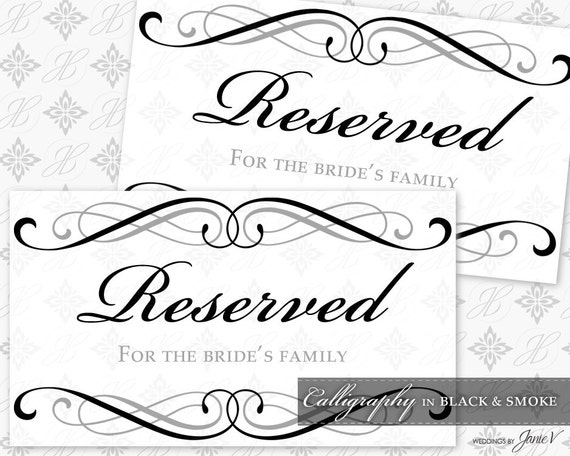 free printable reserved table signs for wedding. Black Bedroom Furniture Sets. Home Design Ideas