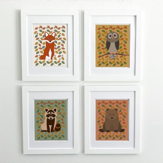 Woodland Nursery Decor - Fox Print - Owl Print - Bear Print - Fox Nursery Decor - Fox Decor - Bear Nursery Decor -  Woodland Animal Prints