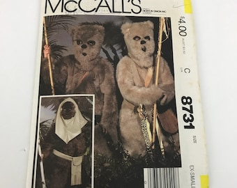 McCalls 8731 1980s Childs Star Wars Ewok Costume Pattern Boys Girls Ex-small 4-6 Uncut