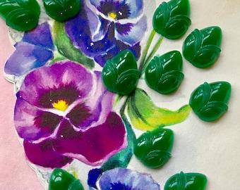 Emerald Leaves, Glass cabochons, Vintage Leaf Cabochons, Art Deco Leaves, Pressed Glass Leaves, Western Germany vintagerosefindings #1692E