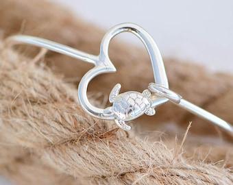 Sea Turtle Bangle Bracelet, Sterling Silver Turtle Bracelet, Beach Jewelry, Turtle Jewelry, Silver Turtle Bangle, Gift For Her